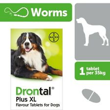 Drontal XL wormer for large Dog allwormer, 2 tabs, Bayer made in Germany