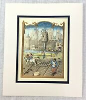 1937 Antico Stampa Medievale Art Semina Semi Piantare Colture Castle Landscape