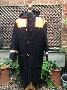Vintage British Donkey jacket black wool hooded Duffle coat size M-L