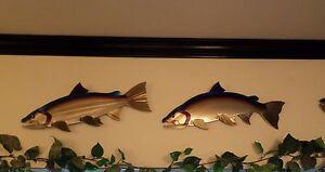 Metal Salmon set of 2 /Coho/Chinook/Fish,Fishing,Cabin.Lodge,Art,Wall,Home decor