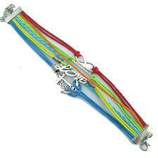 Love Faith Anchor Charms Braided leather Rainbow Colours Bracelet Gay Pride BL10