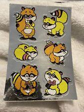Vintage Sticker Mark I Sniff Sheet Raccoons  1984 80s
