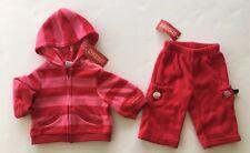 NWT Gymboree Cupcake Cutie 3-6 Months Red Stripe Fleece Hoodie Jacket & Pants