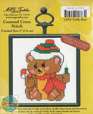 Cross Stitch Mini Kit ~ M.C.G. Teddy Bear w/Frame #15383