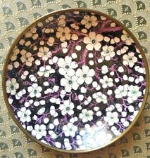 "Vintage Japanese Hand Painted Enamel Porcelain w/Brass Bowl Dish 7.5 "" Hong Kong"