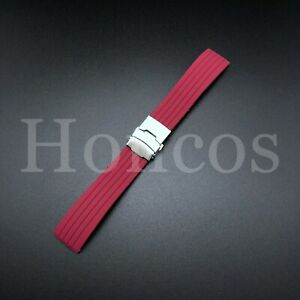 18-24 MM Color Silicone Rubber Watch Band Strap Deployment Clasp Fits Fossil USA
