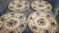 Set of 4 Johnson Bros INDIES DINNER PLATES - England Blue & White