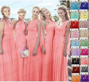 Long Chiffon Wedding Bridesmaid Dresses Formal Party Gown Ball Prom Dresses 6-28