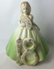 Vtg Josef Originals 18th Birthday Girl Green Dress Goldtone Splatters No Wings
