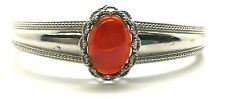 Sterling Silver Oval Red Carnelian Textured Twisted Claws Cuff Bangle Bracelet