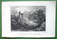 GERMANY Ruins of Haldenstein & Lichtenstein - 1853 Antique Print
