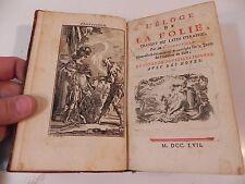 ERASME L' ELOGE DE LA FOLIE 1757 13 planches d' EISEN