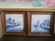 Pair Framed Antique Delft Holland Hand Painted Wall Plaque Tile Blue Scenic