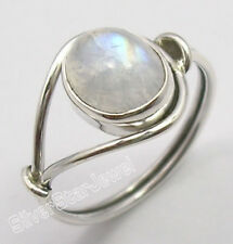 925 Sterling Silver OVAL RAINBOW MOONSTONE Ring Choose Any Size FREE SHIPPING