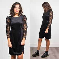 VINTAGE VELVET BLACK DRESS LACE SLEEVE 80'S COCKTAIL STYLE CUTE GLAM WOMENS 10