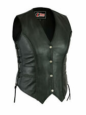 Ladies Real Leather Black Waistcoat Gilet Biker Motorcycle Vest With Laces