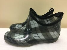 Henry Ferrera Women Black/Gray Rain Boots Ankle Booties Plaid Checked size 8