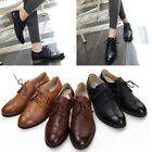 Womens Ladies Fashion Flat Lace Up Retro Oxford Creeper Leather Casual Shoes
