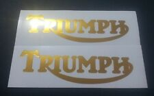 Triumph Tank vinyl cut sticker / decal pair, 150mm x 48mm Gold Chrome