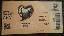 Ticket  : Chypre - Belgium Belgique 24-03-2019 Qualification Euro 2020