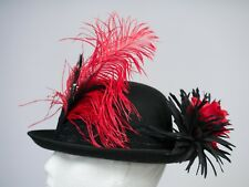 Blue & Red Lace Hat Band Ostrich Feather Riding WHITBY Event Burlesque Dressage