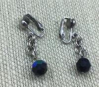 Vintage Austrian Crystal Earrings Faceted Black Aurora Borealis Silver Clip