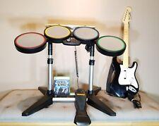 XBox 360 Rock Band 822149 Wired Drum Kit Set & Guitar & Game -  FREE SHIPPING