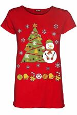 Womens Christmas Cap Sleeve Snowman Tree Ribbon Ladies Stretchy T Shirt Tee Top