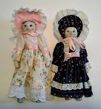 New listing 2 Cloth Body Ceramic Head Cats Kitty Dolls In Dresses Hats Pantaloons Pink Blue