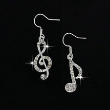 New Sterling Silver Plated Crystal Accented Music Note Hook Dangle Drop Earrings