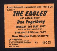 1977 Eagles Dan Fogelberg concert ticket stub Stafford Uk Hotel California
