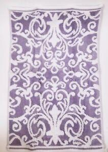 TAHARI WHITE+LILAC PURPLE SWIRL PATTERN COTTON BATH,2 HAND TOWEL,OR 2 FINGERTIP