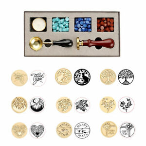 DIY Custom Stamps Wax Seal Box Kit Detachable Stamp Spoon Set Sealing Enve OL8E