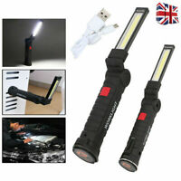 COB LED Magnetic Work Light Rechargeable Inspection Torch Lamp Flexible Cordless
