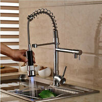 Pull Down LED Chrome Kitchen Faucet Vessel Sink Mixer Tap 2 Sprayer Mixer Tap