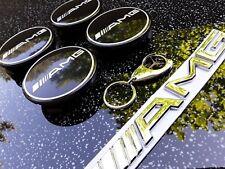 4 x 75mm Mercedes-Benz Radnabendeckel, Nabendeckel Schwarz AMG + 2 Geschenke NEU