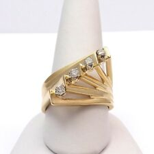 Retro Deco Mid Century 14k Gold .20ct Diamond Modernist Bypass High Top Ring