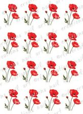 20 RED POPPIES FLOWER NAIL DECALS  POPPY WATER SLIDE NAIL ART DECALS  NAIL DECAL