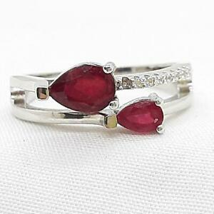 Genuine 1.05ctw Mozambique Ruby & Diamond Cut White Sapphire 925 Silver Ring