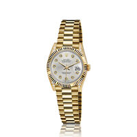 Rolex 26mm Presidential 18kt Gold Metallic Silver Diamond Dial Lugs 6917