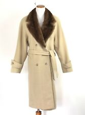 917e488891a Marvin Richards Camel Hair Long Pea coat Mink Collar Beige Womens Size 12