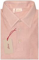 $600 NWT BRIONI WHITE RED STRIPE MERCERIZED SHORT SLEEVE SLIM POLO SHIRT EU 50 M