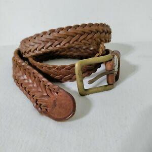 Polo Ralph Lauren Braided Woven Belt 38 Brown Genuine Leather Brass Hardware