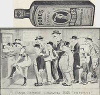 Ponds Bitters Risque Bank Joke Rye Ginger Brandy Cordial Cure Comic Trade Card
