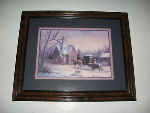Vintage Homco Home Interior Western Cowboy Horse Church Snow Buggy Picture
