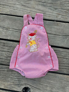 Vintage Cuties by Judy Baseball Cat Baby Boy Sunsuit Romper Shorts  3-6 Months