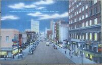 Jackson, MS 1940s Postcard: Capitol Street/Downtown at Night - Mississippi Miss