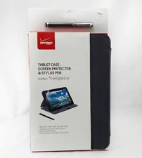 Verizon Folio Tablet Case - Screen Protector - Stylus Pen for Ellipsis 10 BLACK