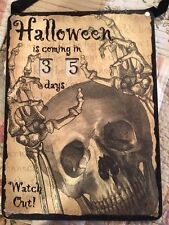 Halloween Skull Countdown Days Calendar Glitter Primitives by Kathy Sign NWT