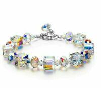 "7""-9"" Beautiful Aurora Austria Crystals Bracelet 925 Silver Wedding Adjustable"